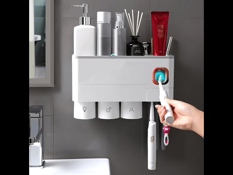 Magnetic Adsorption Toothbrush Holder and Automatic Toothpaste Dispenser