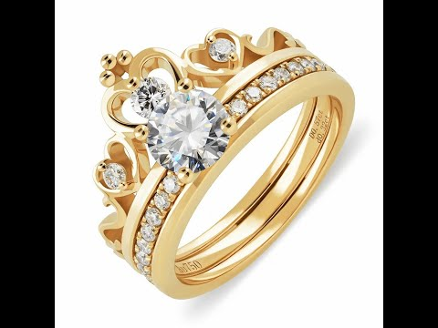 Get a Customized 18K or 14K Two Piece Suit Gold Ring With 5mm Original Diamond or Moissanite Gemston