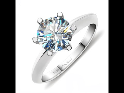 2ct 18K White Gold Plated 925 Silver Ring With Moissanite Gemstone