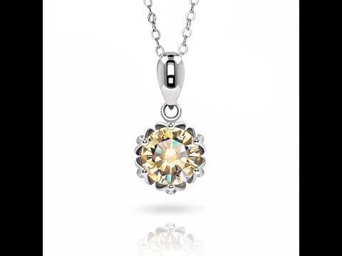 1ct 18K White Gold Plated 925 Silver Necklace With Moissanite Gemstone