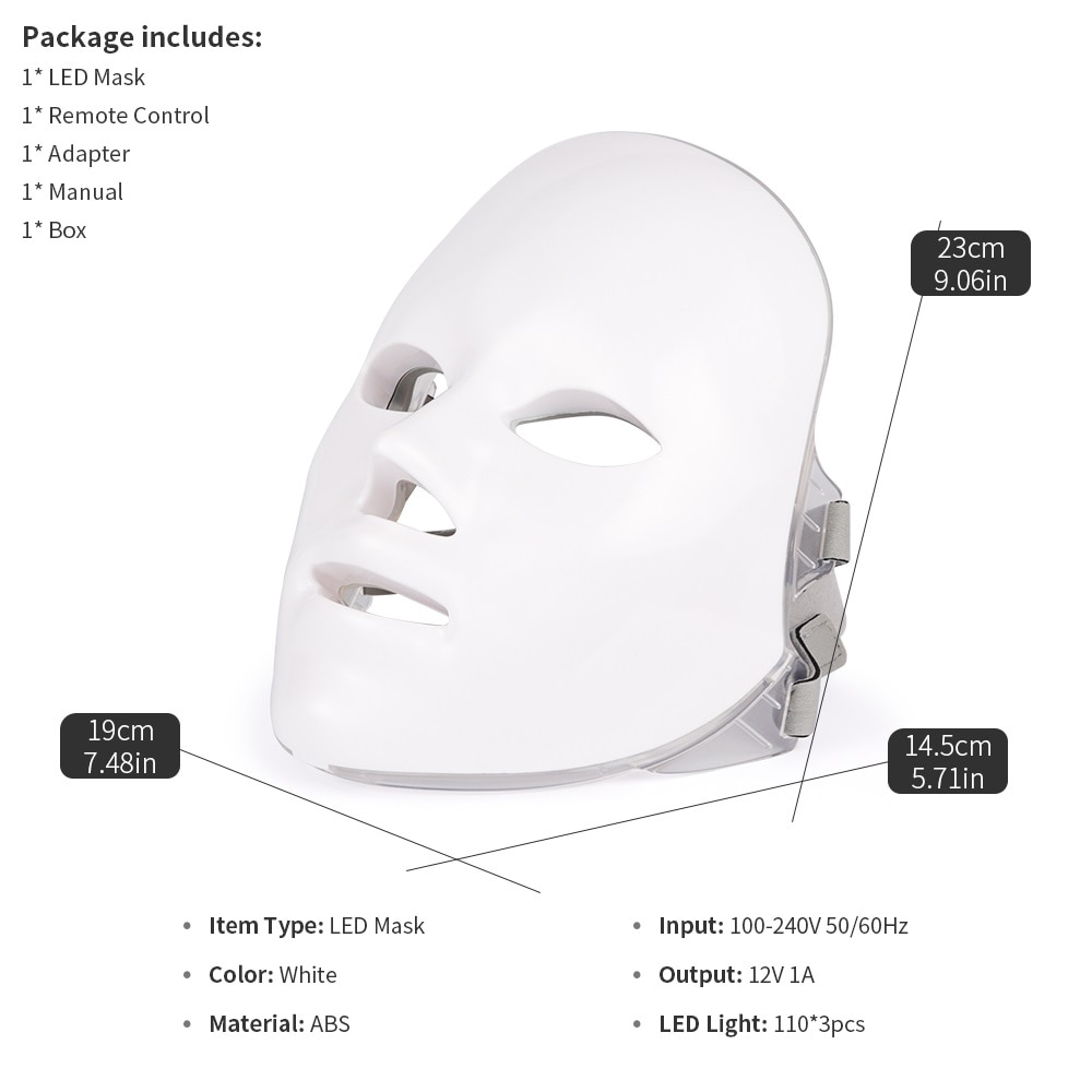 7 Colors LED Mask Photon Therapy For Face Care
